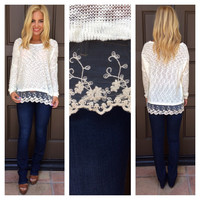 Olivia Lace Trimmed Knit Sweater - IVORY