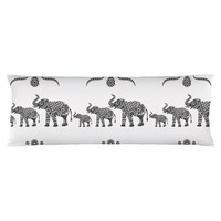 Ornamental Indian Elephants Body Pillow