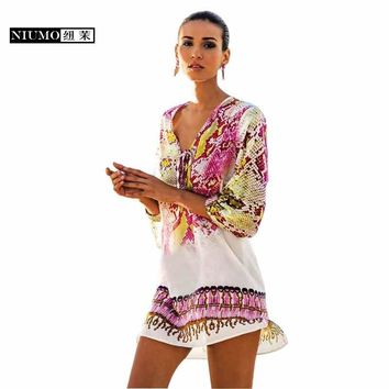NIUMO Women 2018 New summer Chiffon thin printing Sexy Beach dress Sun protection Cover-Ups