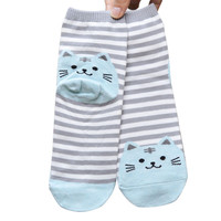 2016 New Harajuku Women Cartoon 3D Animal Striped Socks Novelty Patterned Sock Colorful Cat Footprints Cotton Socks Floor