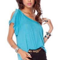 New Jersey Knit Top in Turquoise :: tobi