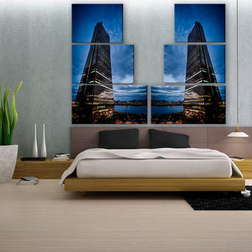 X-LARGE Seoul Skyscraper 6 Panel Canvas Print Giclee Print Fine Art Wall Deco Fine Art Photography Print for Home and Office Wall Decoration