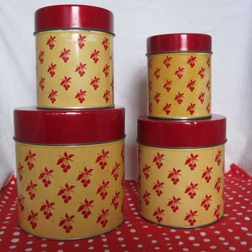 Vintage Metal Kitchen Cherry Canisters, Set of 4, Yellow & Red, Trinket box