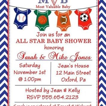 10 All Star Sport Baby Shower Invitations