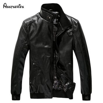 2018 Winter Man Leather clothing Fashion Pu Clothing Stand Collar With Plush Men Jacket Thicken Coat Tops 45hfx