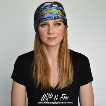 Wide boho headband, Ladies fashion bandana, Headscarf, Womens satin fabric turban, Blue satin headwrap, Scarf, Kerchief, Beanie