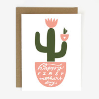 First Mother's Day Cactus Screen Printed Folding Card