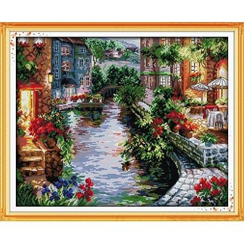 The Lakeside Houses Counted Cross Stitch 11CT 14CT Cross Stitch landscape Cross Stitch Kits for Embroidery Home Decor Needlework