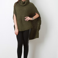 High-Low Turtleneck Knit Poncho Cape