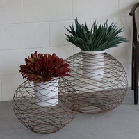 Copper Finish Wire Ball Planters w/ White Wash Pots (Set of 2)