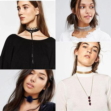 ONETOW Dvacaman Brand 2016 Autumn Promotion Cheap Cloth Choker Necklace Long Pendant Necklace Women Party Wedding Statement Jewelry R46