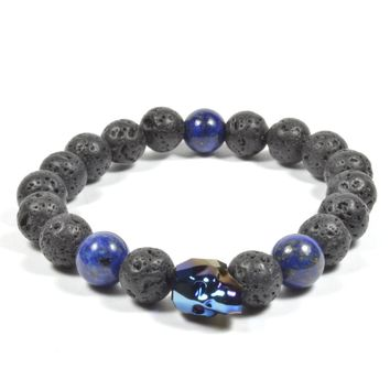 10mm Lava Rock and Lapis Lazuli with Blue Swarovski