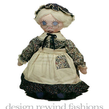 "Mrs Claus Granny Grandma Stuffed Doll w/ Clothes Butterick 277/4953 Vintage CRAFT Sewing Pattern Bonnie's Bundles- Large 22"" Doll Toy UNCUT"