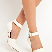 Faith Chanell White Pointed Heeled Shoes at asos.com