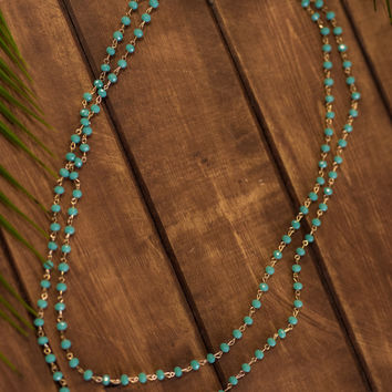 Pacific Coast Beaded Drop Necklace And Earring Set (Sky Blue)