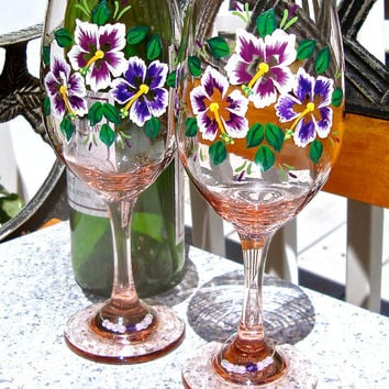 Hand Painted Pink Wine Glasses With Purple Hibiscus and Wine Glass Charms, Unique Gift Ideas