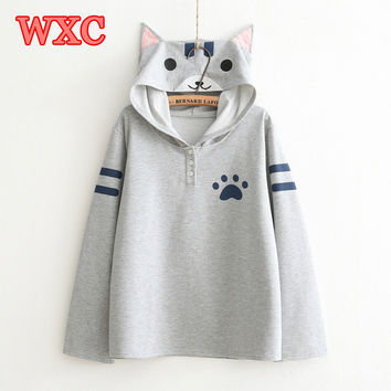 Harajuku Women Thin Hoodies Anime Neko Atsume Hooded Pullover Kawaii Cute Cat Young Student Outwear Mori Girls Japanese Tops WXC