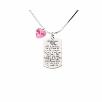 1 Corinthians 10:13 Tag Necklace With Pink Swarovski Crystal