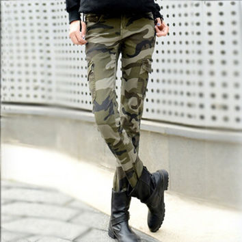 2016 fashion camo skinny jeans woman camouflage jeans slim plus size pencil jean femme pantalones vaqueros mujer