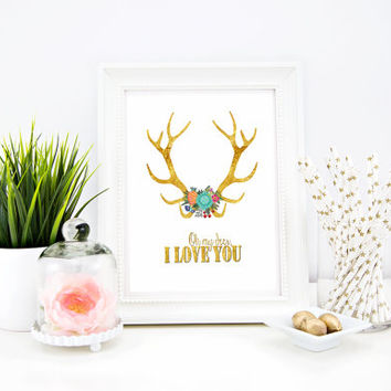 "Gold Antlers with Flowers - INSTANT Download PDF 8.5""x11"" - Printable Floral Antlers - boho chic print, Printable Home Decor Poster Print"