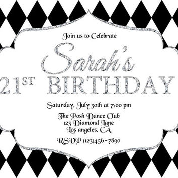 Elegant Diamonds Bridal Baby Shower Birthday party invitations Printable DIY
