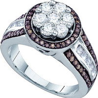 Cognac Diamond Ladies Fashion Ring in 10k White Gold 1.39 ctw