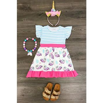 Blue/White Striped Unicorn Kids Dress