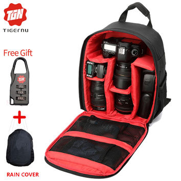 2016 Digital DSLR Camera Bag Waterproof Photo backpack Tigernu Brand Photography Camera Video Bag Small Travel Camera Backpack