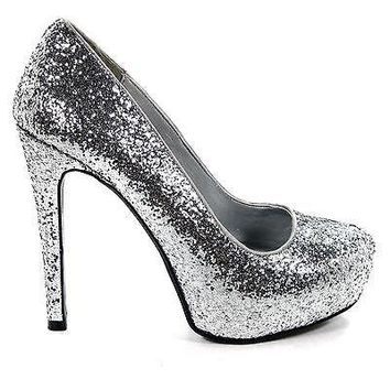 Yaris Black Glitter By Delicious, Closed Toe Pump Platform Club Evening Dancing Shoes Women