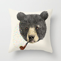 BLACK BEAR SAILOR Throw Pillow by dogooder