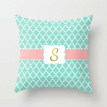 Coral Gold Mint Monogrammed Throw Pillow, Pillow Cover, Initial Monogram Pillow, Nursery Decor for Girl, Baby Shower Gift, Moroccan Pattern