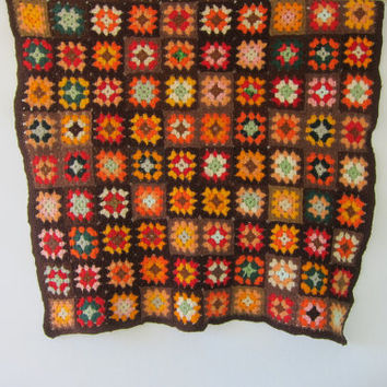 small vintage afghan granny squares blanket throw / brown, pink, orange and green colors