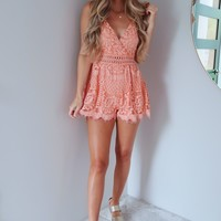 Find Your Sweetness Romper: Coral Peach