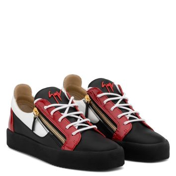 Giuseppe Zanotti Gz Frankie Black Calfskin Leather Low-top Sneaker With White And Red Patent Leather Insert