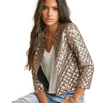 New Brand Spring Style Vogue Lozenge Women Gold Sequins Jackets Three quater sleeve Fashion Coats Outwears