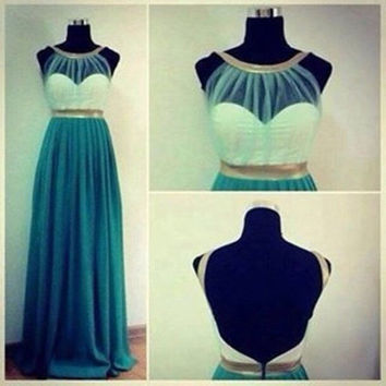 Egyptian Gown/ Teal Egyptian Backless Chiffon Prom Dress/ Costume. SHIPS  WITHIN 24hours Of