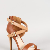 Anne Michelle Leatherette Criss Cross Ankle Strap Open Toe Heel Color: Chestnut, Size: 6