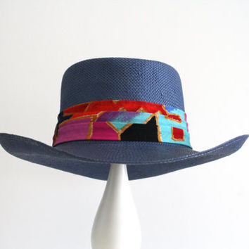 "Vintage Blue ""Stetson"" Panama Straw Hat with Colorful fabric band - Blue - Medium"