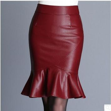 High Waist Trumpet Skirts Womens Pu Faux Leather Faldas Mujer Bodycon Package Hip Mini Skirt Fashion Female Leather Saias K667