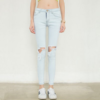 Denim Light Blue Ripped Hole Zipper Button Skinny Pants