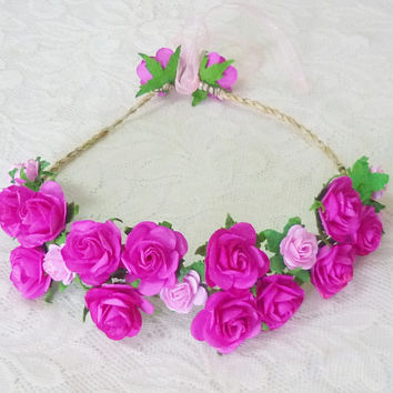 Hot ink rose headband Tie back Flower crown paper Wedding headpiece Flower headband/ flower hair vine
