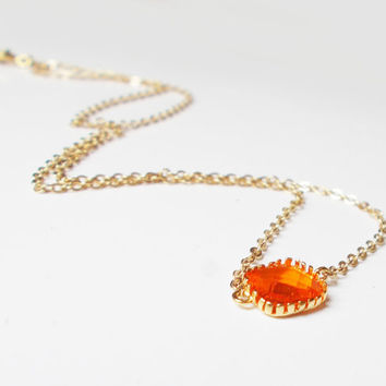 Amber Pop of Color 16K Gold Plated Stacking Necklace - BridesMaid Gift - Gemstone Necklace