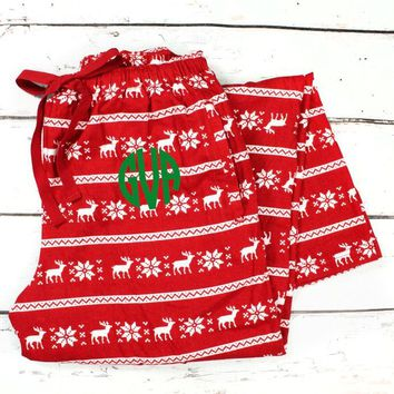 MONOGRAMMED YOUTH CHRISTMAS FLANNEL PAJAMA PANT