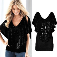 Women Sexy V Neck Sequin Sparkle Glitter Tank Short Sleeve Top T-Shirt Blouse = 5618789889