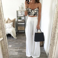 White Casual Loose Pant