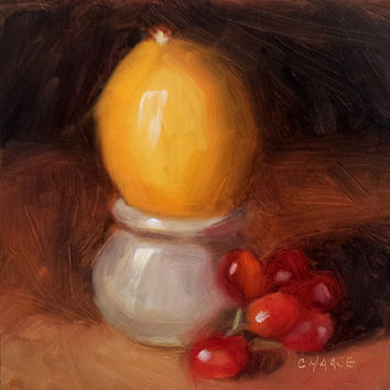 Fruit Stand 6 x 6 Original Daily Oil Painting by LittletonStudio