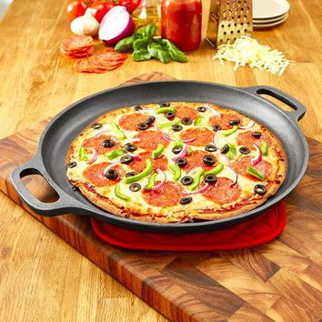 """Cast Iron Pizza Pan 13-7/8"""" Diameter Stove Oven Grill Even Heat Distribution"""