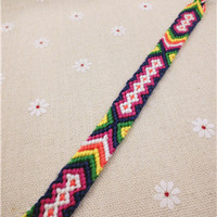 Friendship Bracelet  Handmade Charm Woven Rope String Hippy Boho Embroidery Cotton Friendship Bracelets For Women And Men K61-75