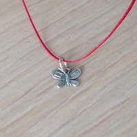Silver butterfly pendant, solid sterling butterfly necklace, boho butterfly pnendant on red cord, Greek handmade jewellery, girls teens gift