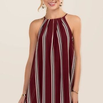 Lia Striped Halter Shift Dress
